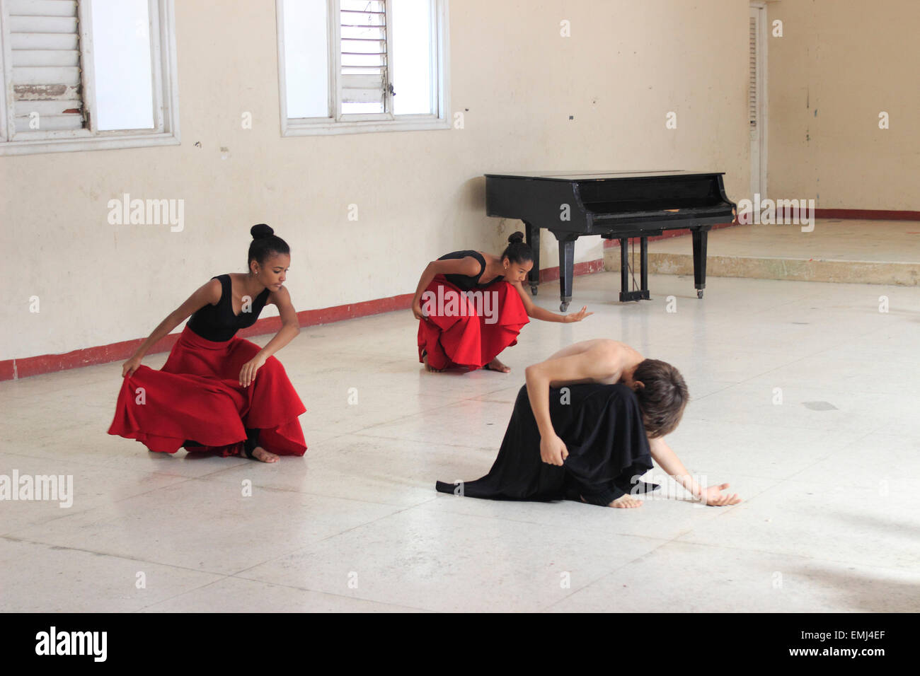 Dance Students Boy and girls Benny More School of the Arts Cienfuegos Cuba - Stock Image