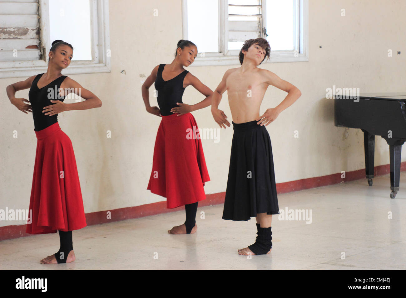 Dance Students Boy and girl Benny More School of the Arts Cienfuegos Cuba school uniforms teens Music - Stock Image