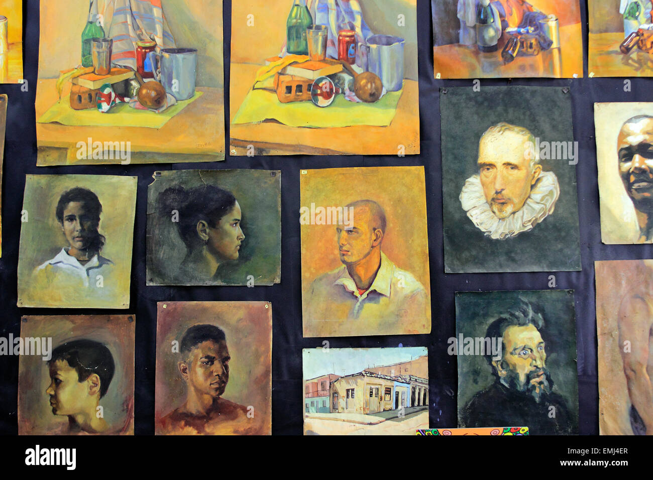 Paintings by students and faculty on display Benny More School of the Arts Cienfuegos Cuba - Stock Image