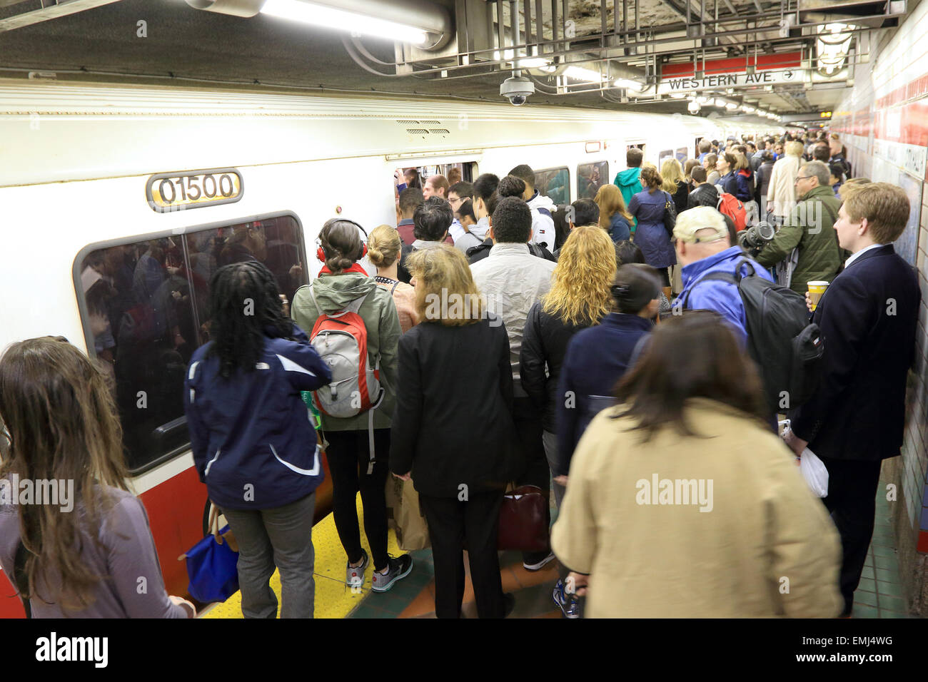 Boston Massachusetts subway with commuters preparing to board  T train on Red line to Alewife. - Stock Image