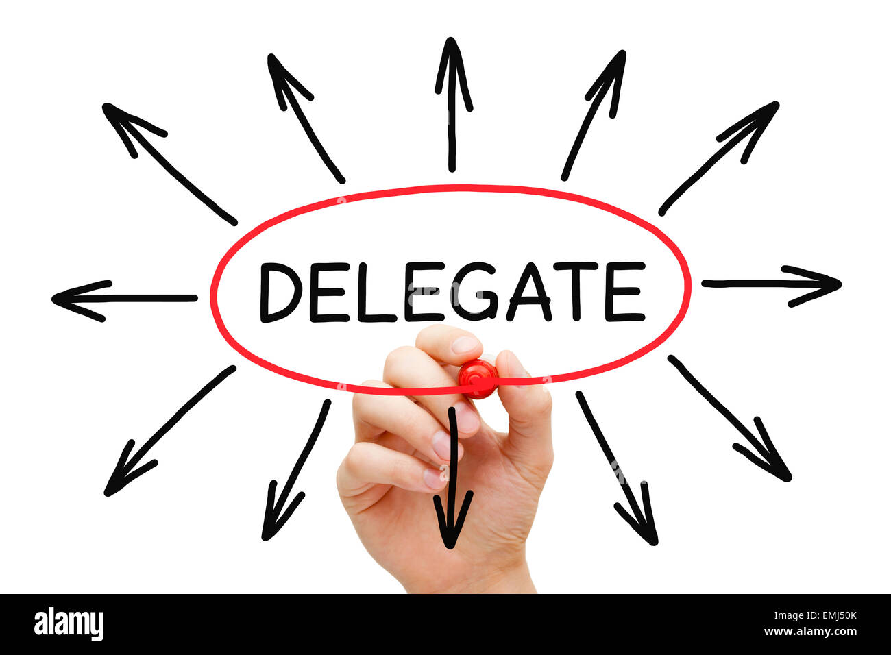 Hand drawing Delegate concept with marker on transparent wipe board isolated on white. - Stock Image
