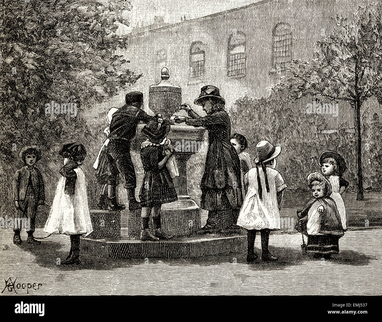 Children playing around a fountain. Victorian woodcut engraving dated 1890 - Stock Image