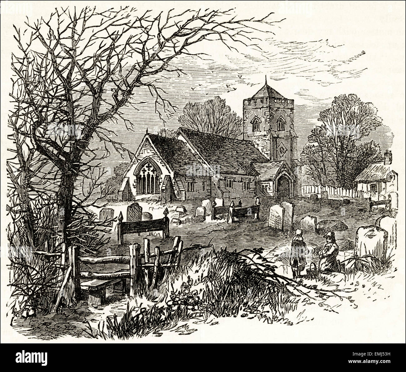 View of a church in the countryside. Victorian woodcut engraving dated 1890 - Stock Image