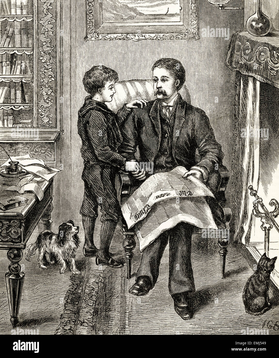 Son talking to father sat in fireside chair. Victorian woodcut engraving dated 1890 - Stock Image