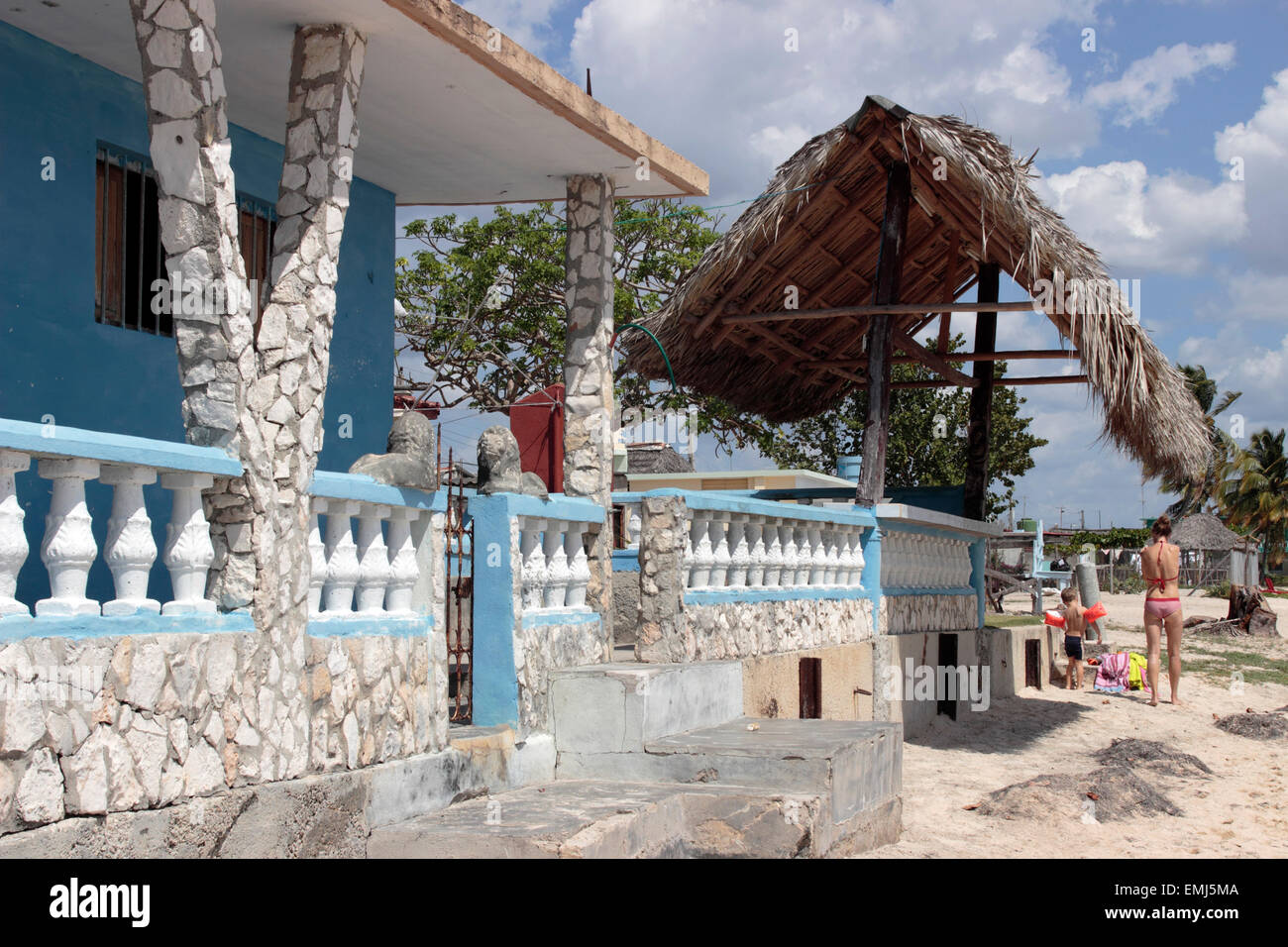 Beach house on the beach at Zapata Peninsula Cuba - Stock Image