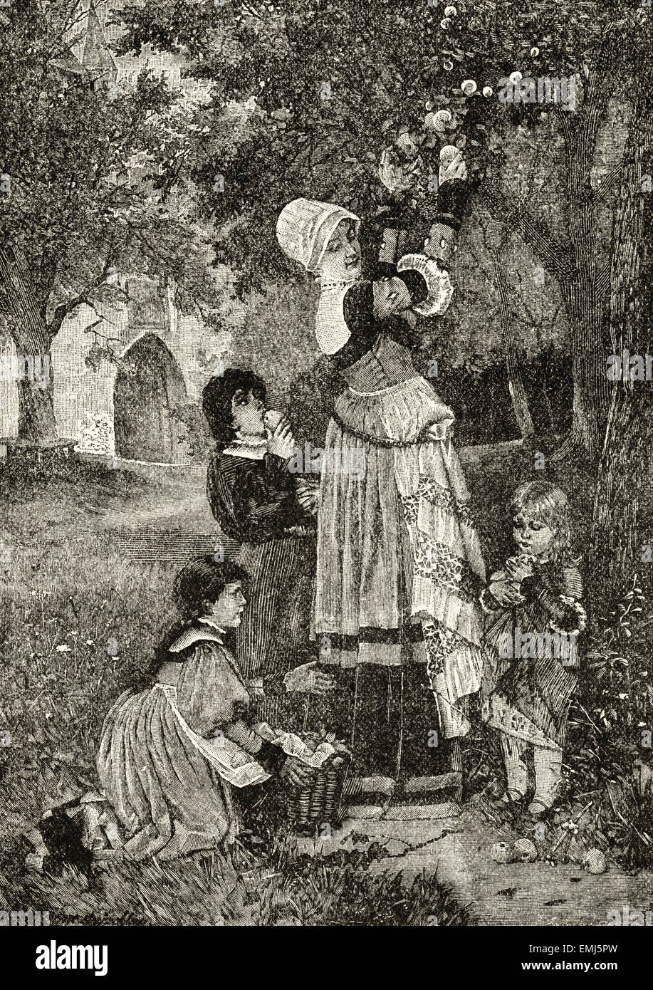 Mother & children picking apples. Victorian woodcut engraving dated 1890 - Stock Image