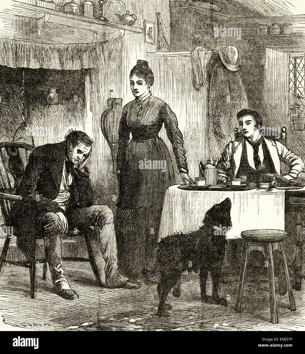 Adult family group in kitchen. Victorian woodcut engraving dated 1890 - Stock Image