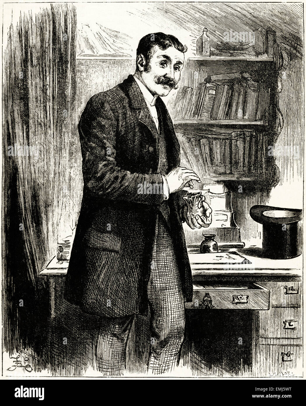 Man counting coins into bag in his study. Victorian woodcut engraving dated 1890 - Stock Image