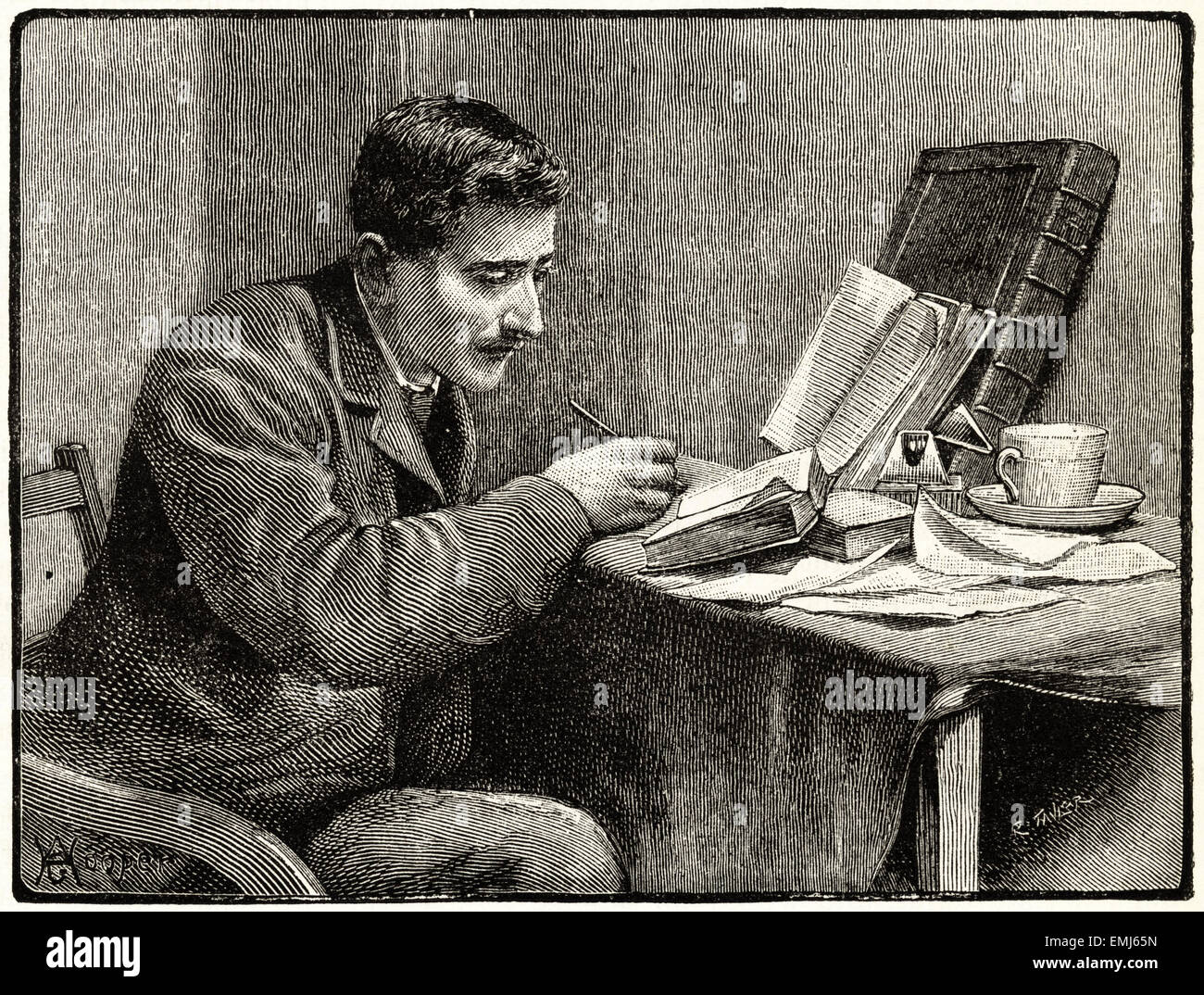 Man studying on table at home. Victorian woodcut engraving dated 1890 - Stock Image