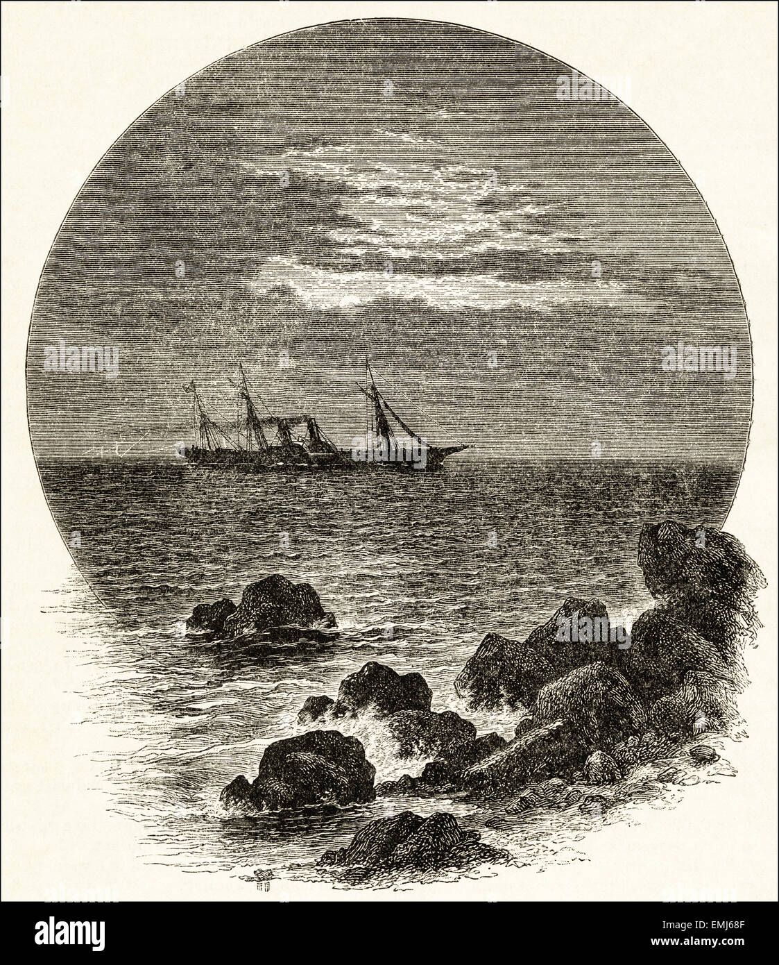 Paddle steamer at sea on night voyage. Victorian woodcut engraving dated 1890 - Stock Image
