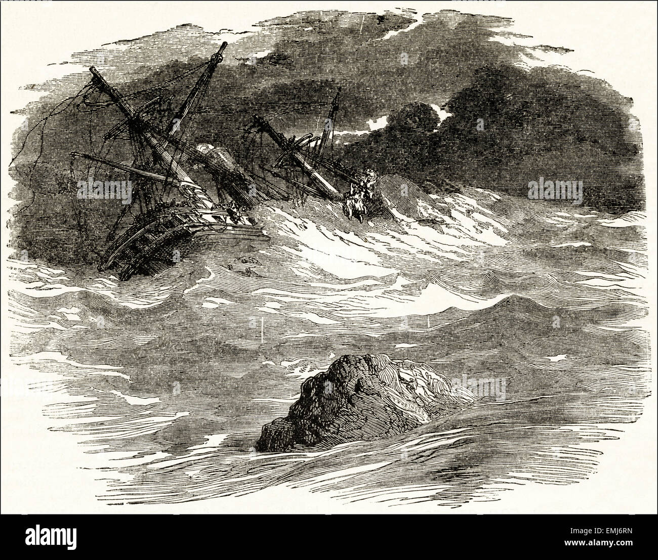 Sailing ship wrecked on rocks. Victorian woodcut engraving dated 1890 - Stock Image