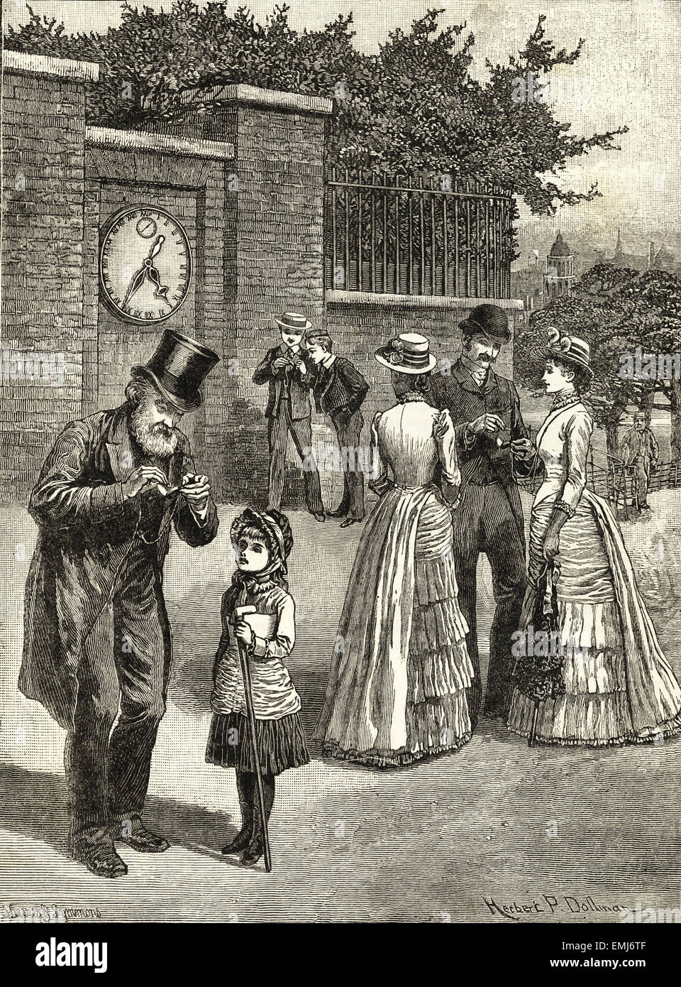 Men & women checking the time. Victorian woodcut engraving dated 1890 - Stock Image