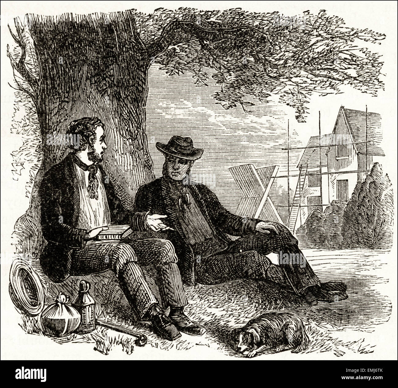 Builders having lunch under a tree. Victorian woodcut engraving dated 1890 - Stock Image