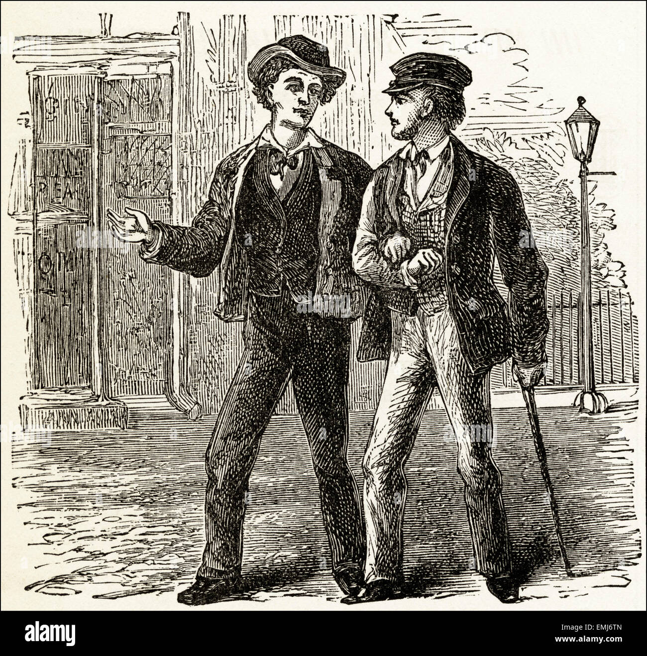 Street scene two men walking to the pub. Victorian woodcut engraving dated 1890 - Stock Image