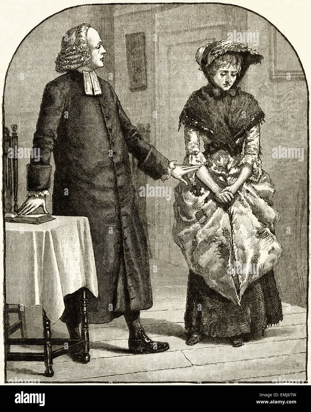 Vicar talking to woman in the vicarage. Victorian woodcut engraving dated 1890 - Stock Image