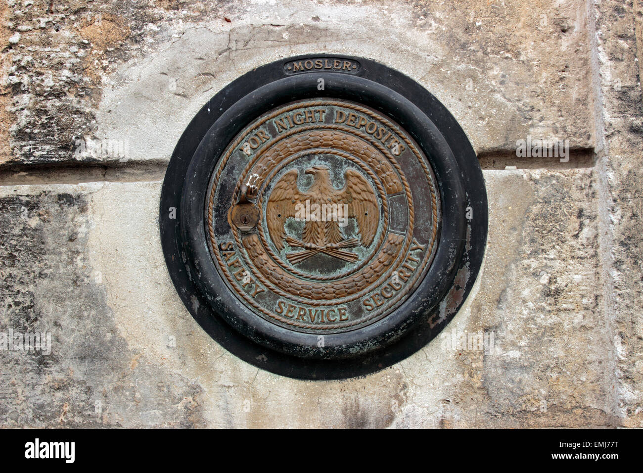 Old American night deposit vault bank in decaying building Old Town Habana Vieja Havana Cuba - Stock Image