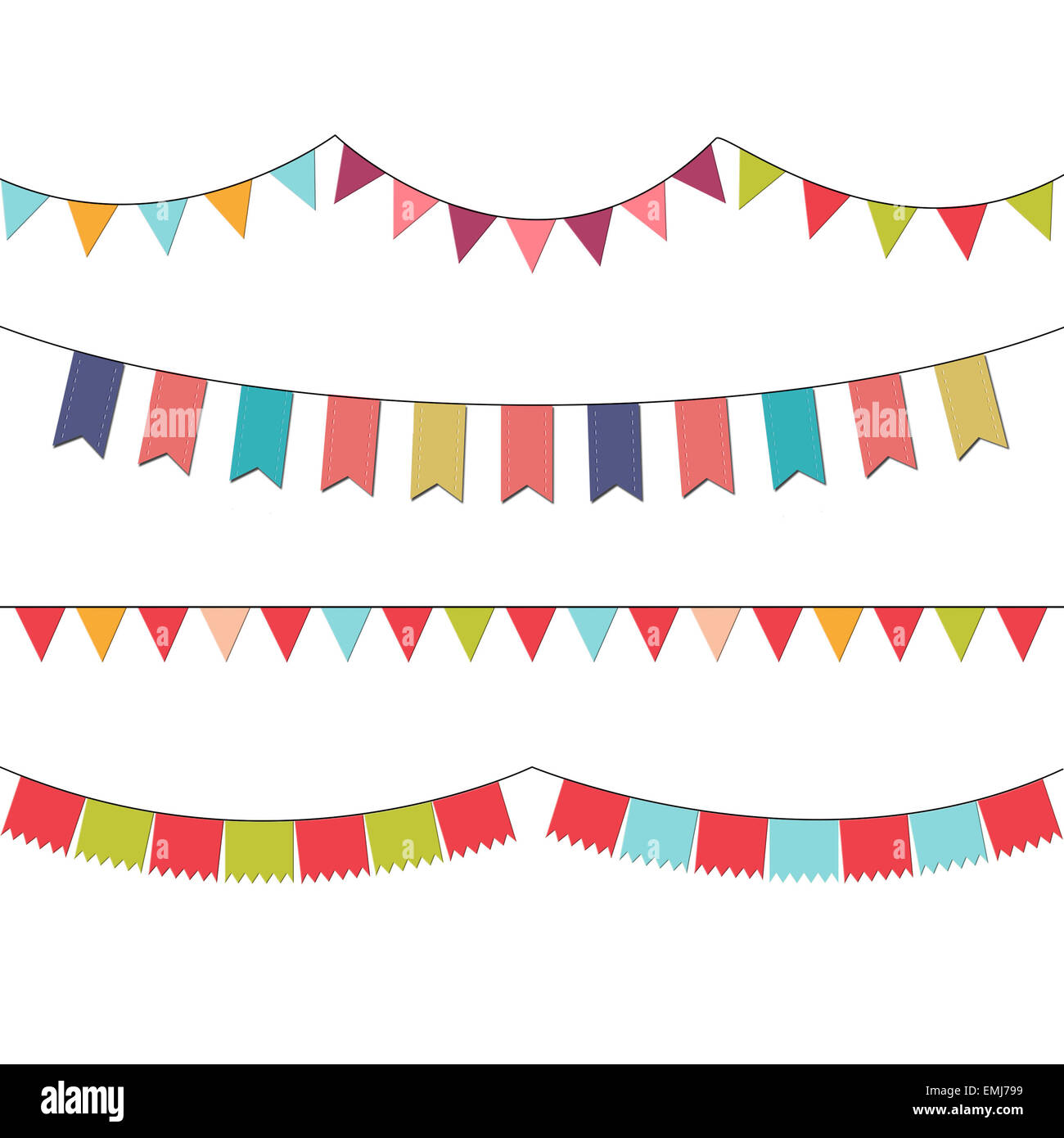 Colorful buntings for invitations, cards, flyers, celebrations. - Stock Image
