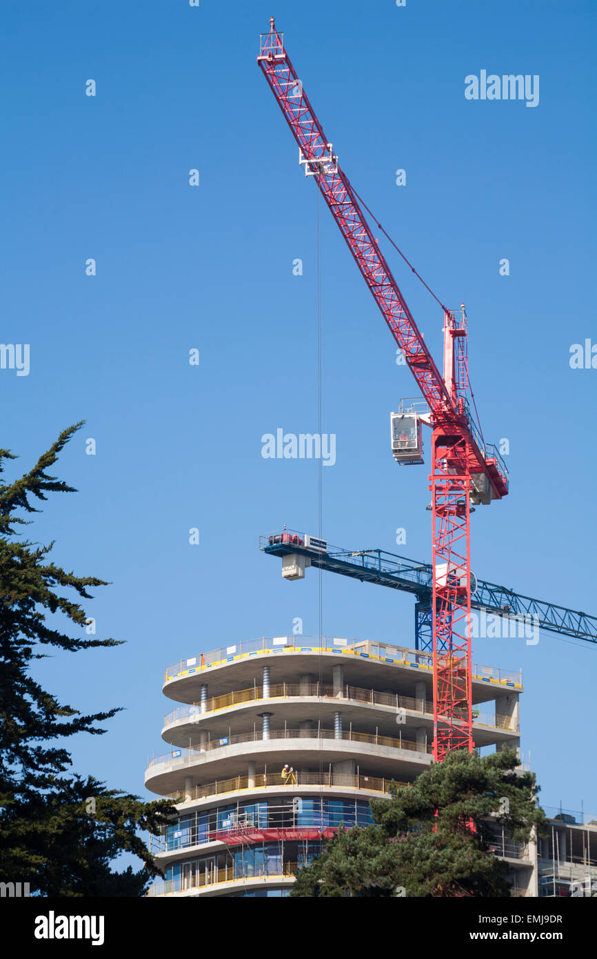 cranes, construction work in Bournemouth, Dorset in April - Stock Image