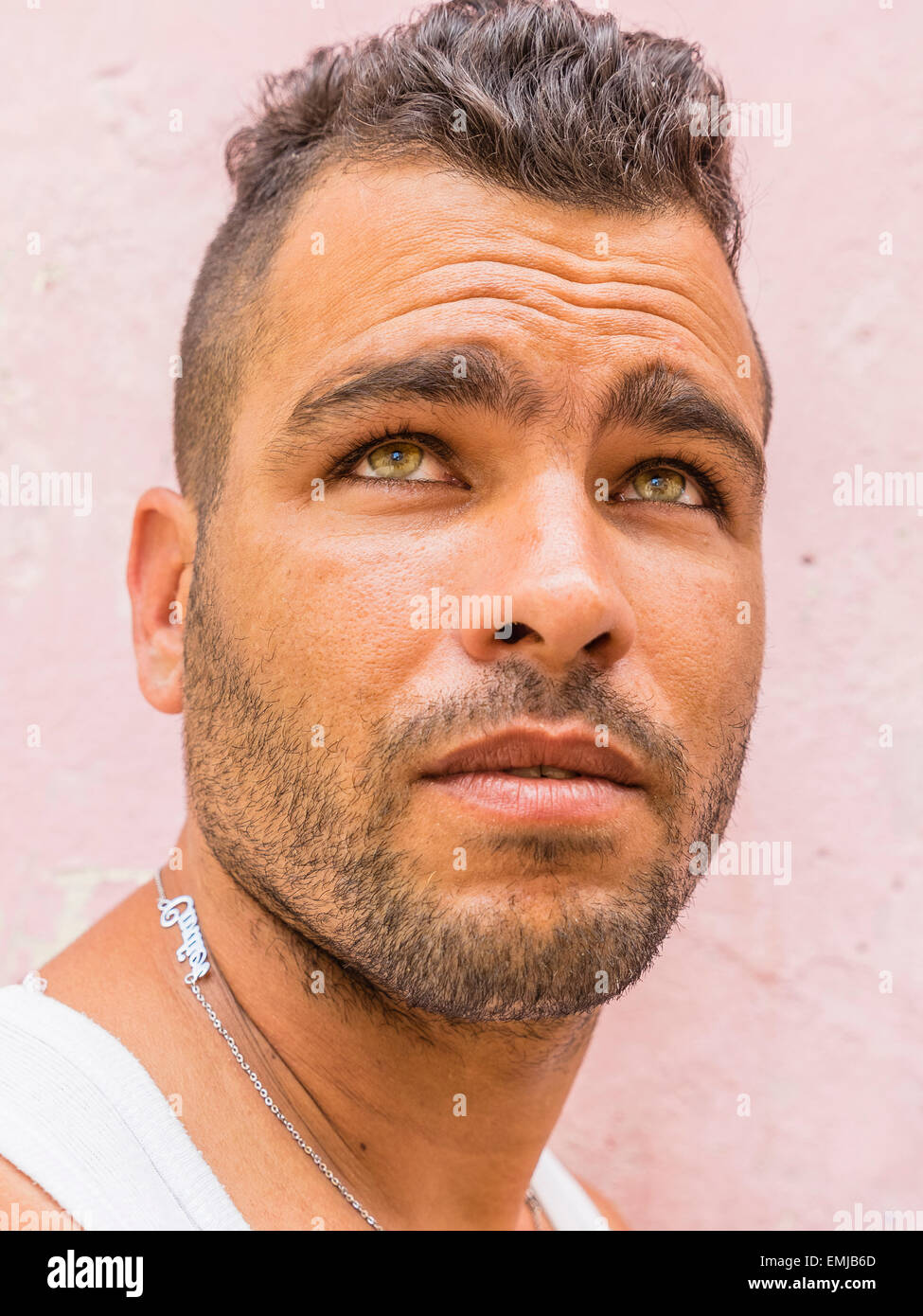 close-up of the face of a 20-29 year old hispanic cuban male with a