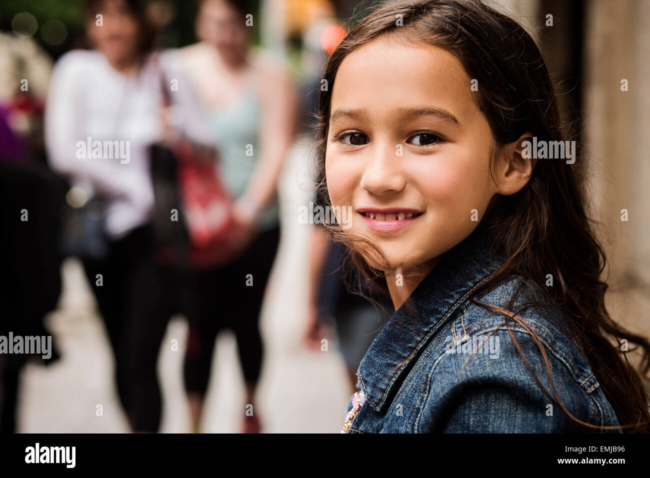 Portrait of Smiling Young Girl, Close-Up - Stock Image