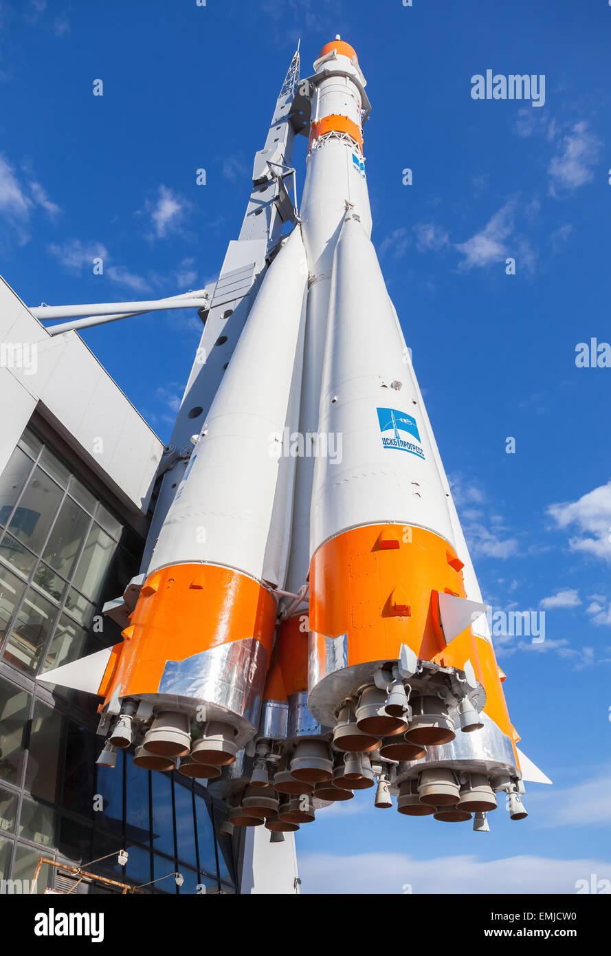 Real 'Soyuz' type rocket as monument. - Stock Image