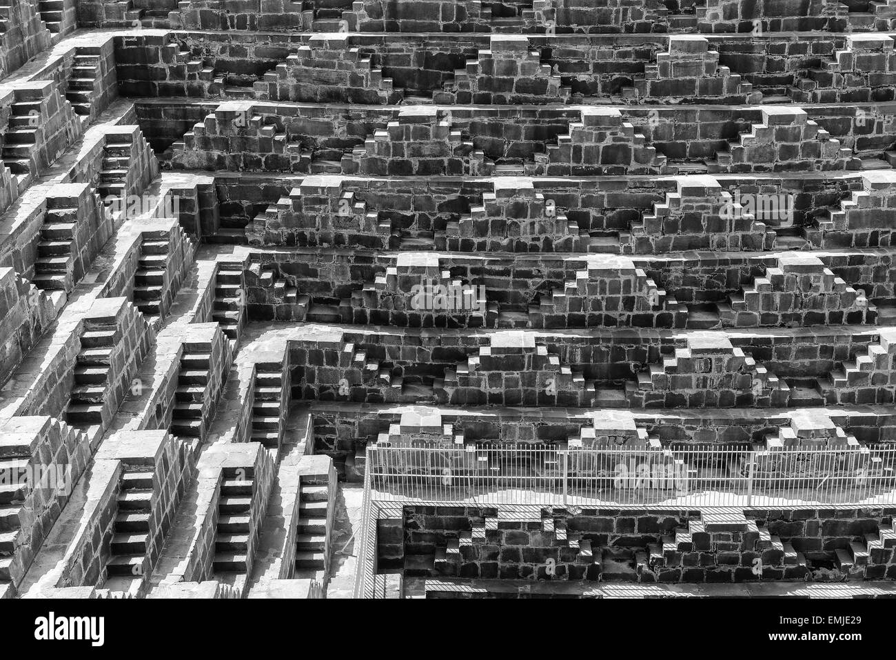 Giant stepwell in rajasthan, india, Black and white - Stock Image
