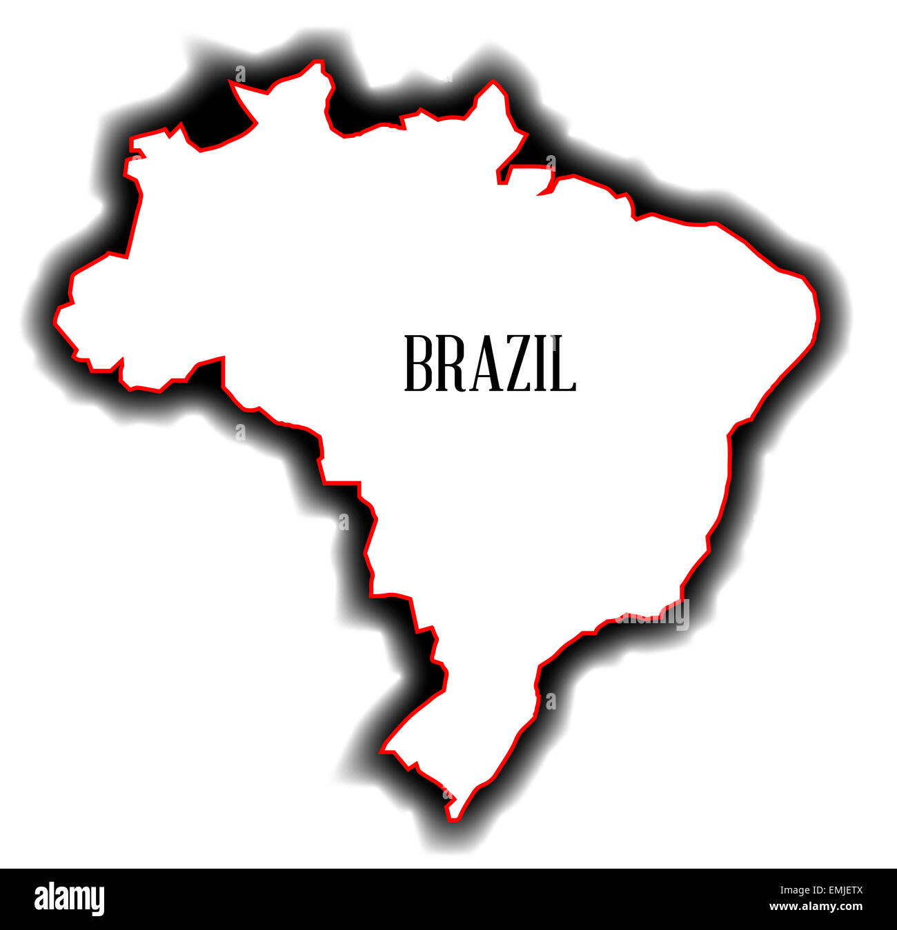 Outline blank map of the South American country of Brazil Stock ...