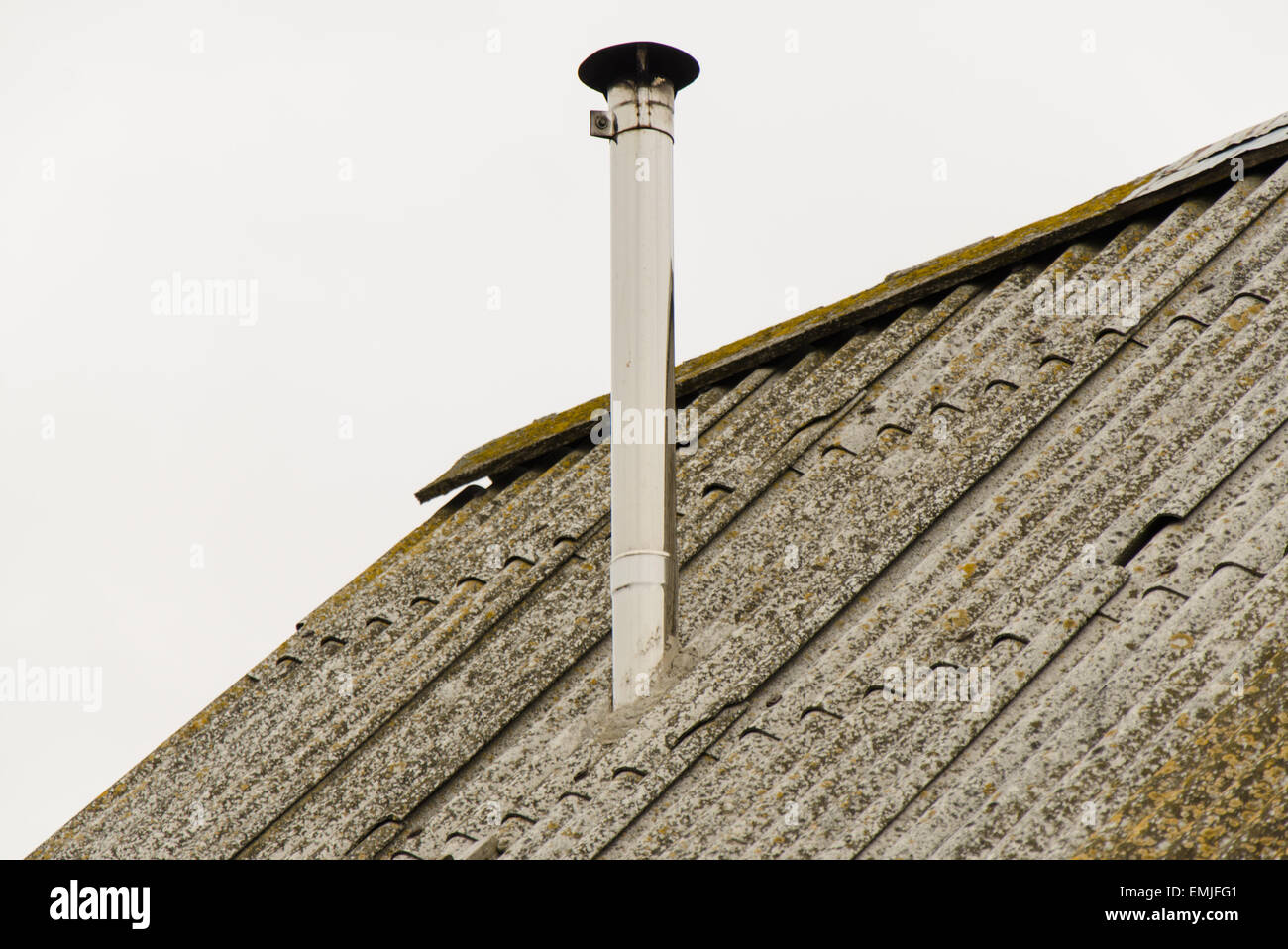 Old roof with chimney Stock Photo