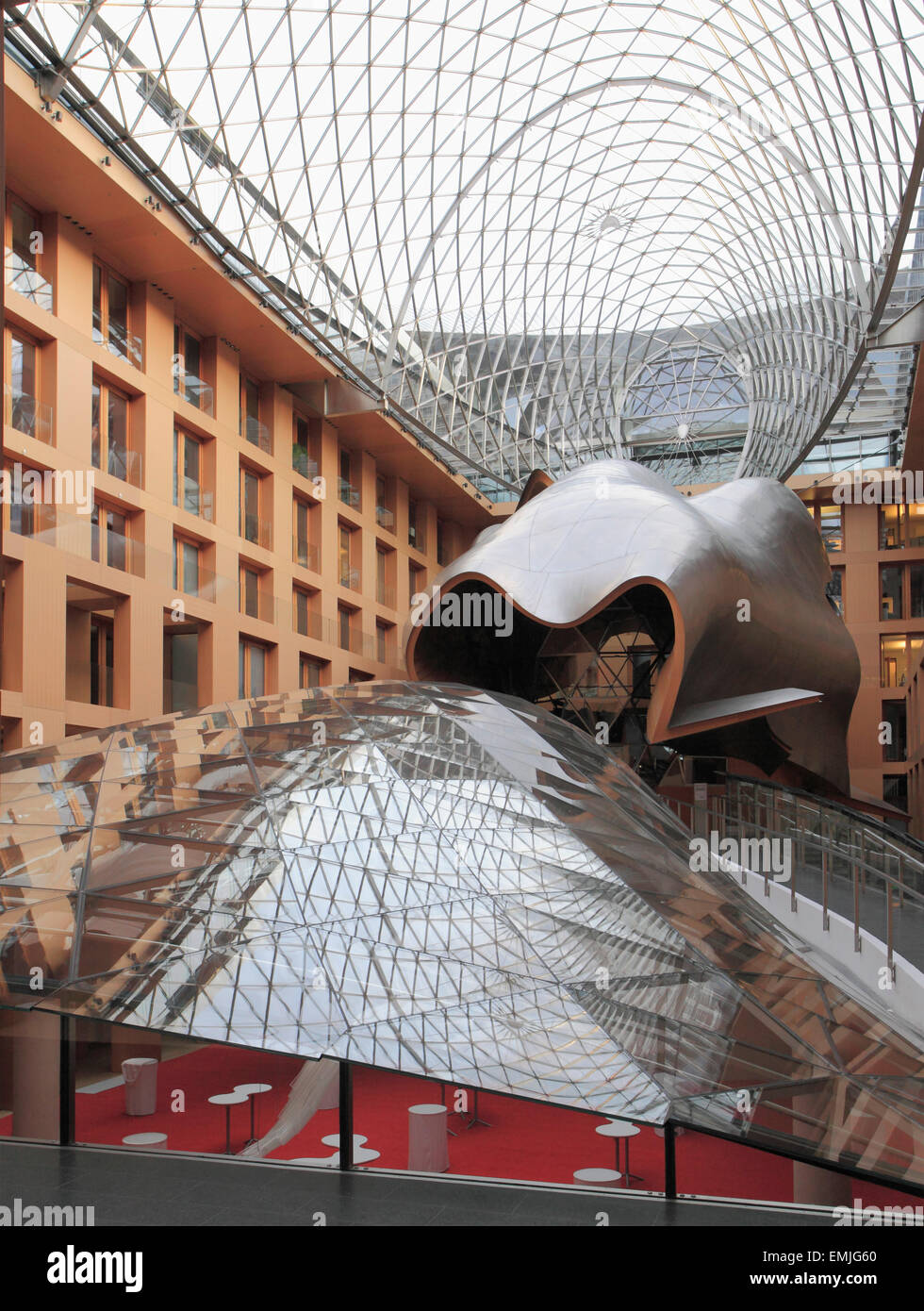 Germany, Berlin, DZ Bank, Atrium, Frank Gehry architect, - Stock Image