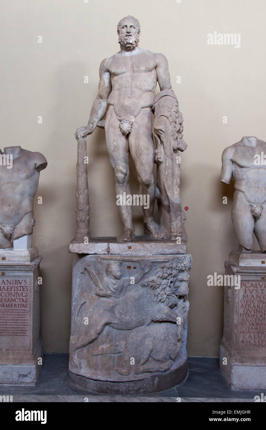 Statue of hercules in the Vatican Museums, Vatican - Stock Image