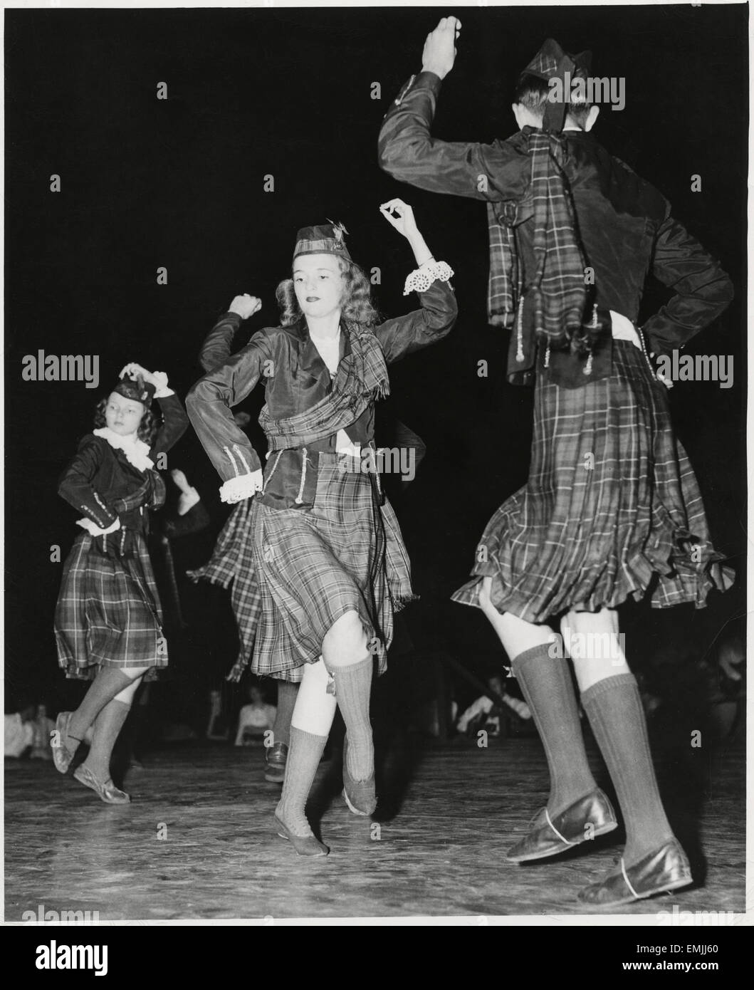 High School Students From Fayetteville, NC, Performing Highland Fling at Carolina Folk Festival, North Carolina, - Stock Image