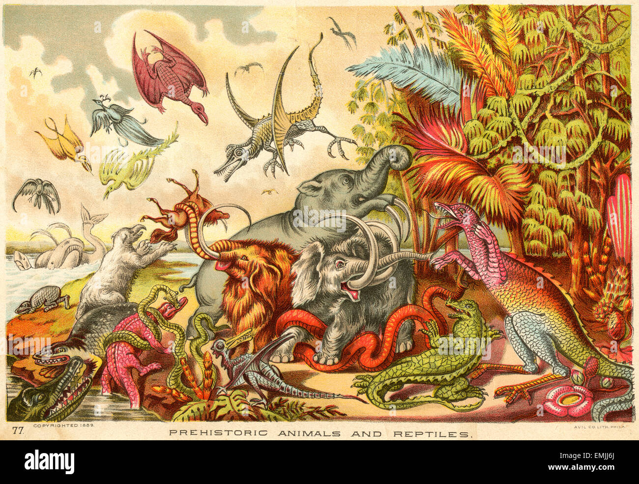 Prehistoric Animals and Reptiles, Avil Co. Lith. Phila., 1889 - Stock Image
