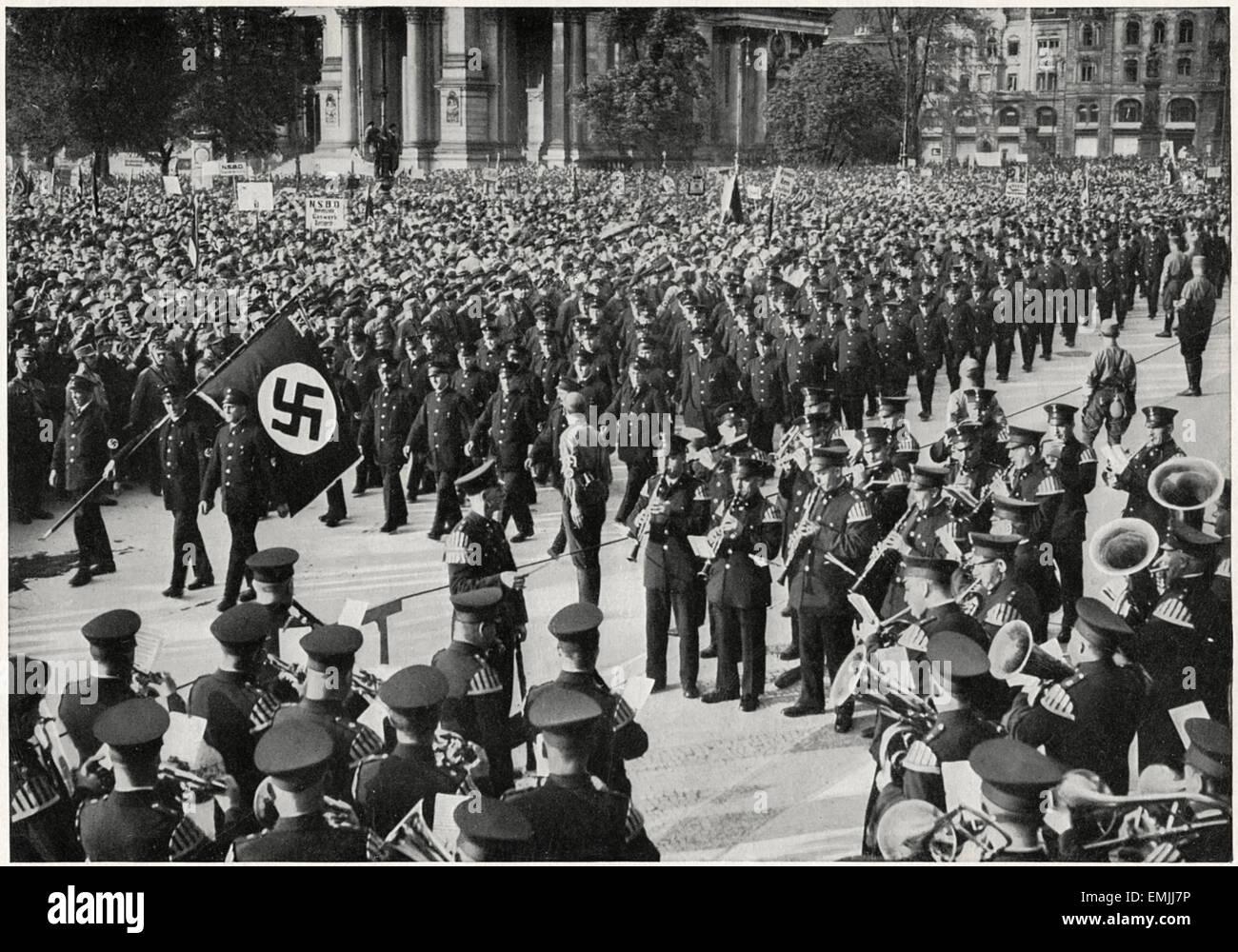 Demonstration of Berliner Worker Society, Luftgarten, Berlin, 1934 - Stock Image