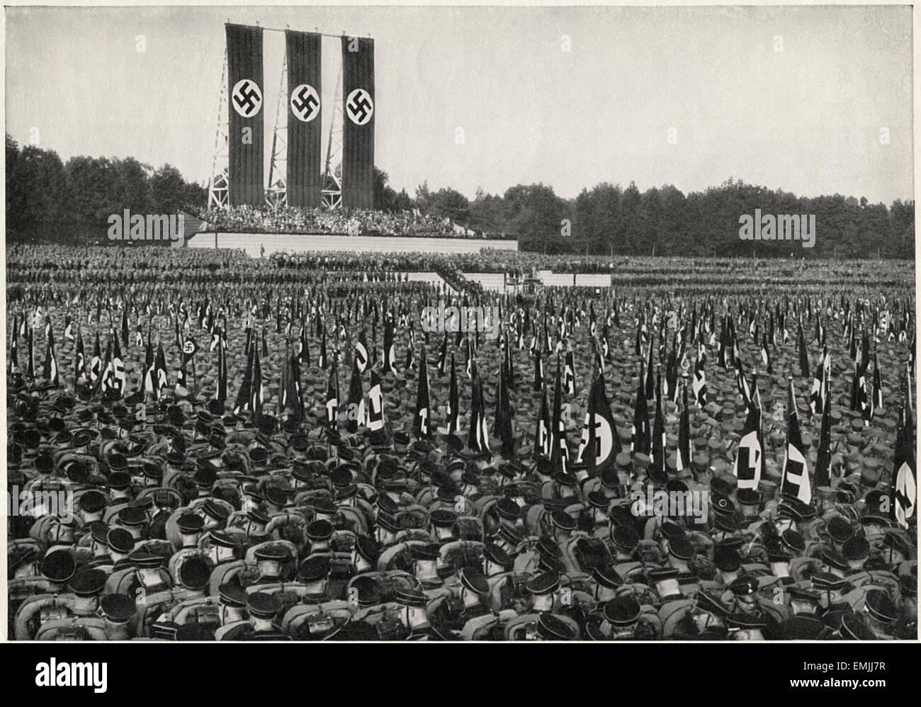 German SA Troops at Rally, Nuremberg, Germany, 1933 - Stock Image