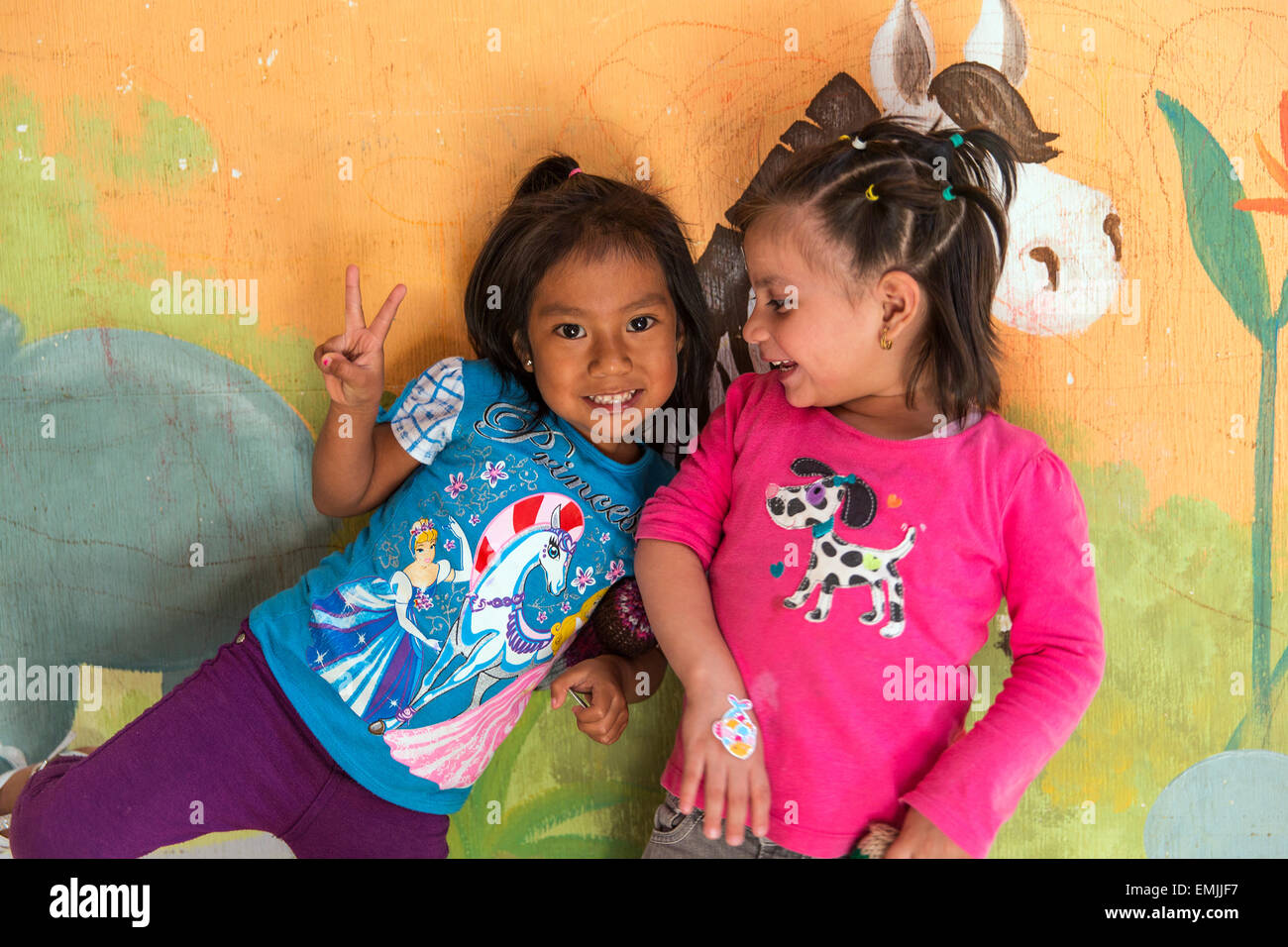 Guatemala, portrait of two young children in a nutrition center recovering from malnutrition - Stock Image