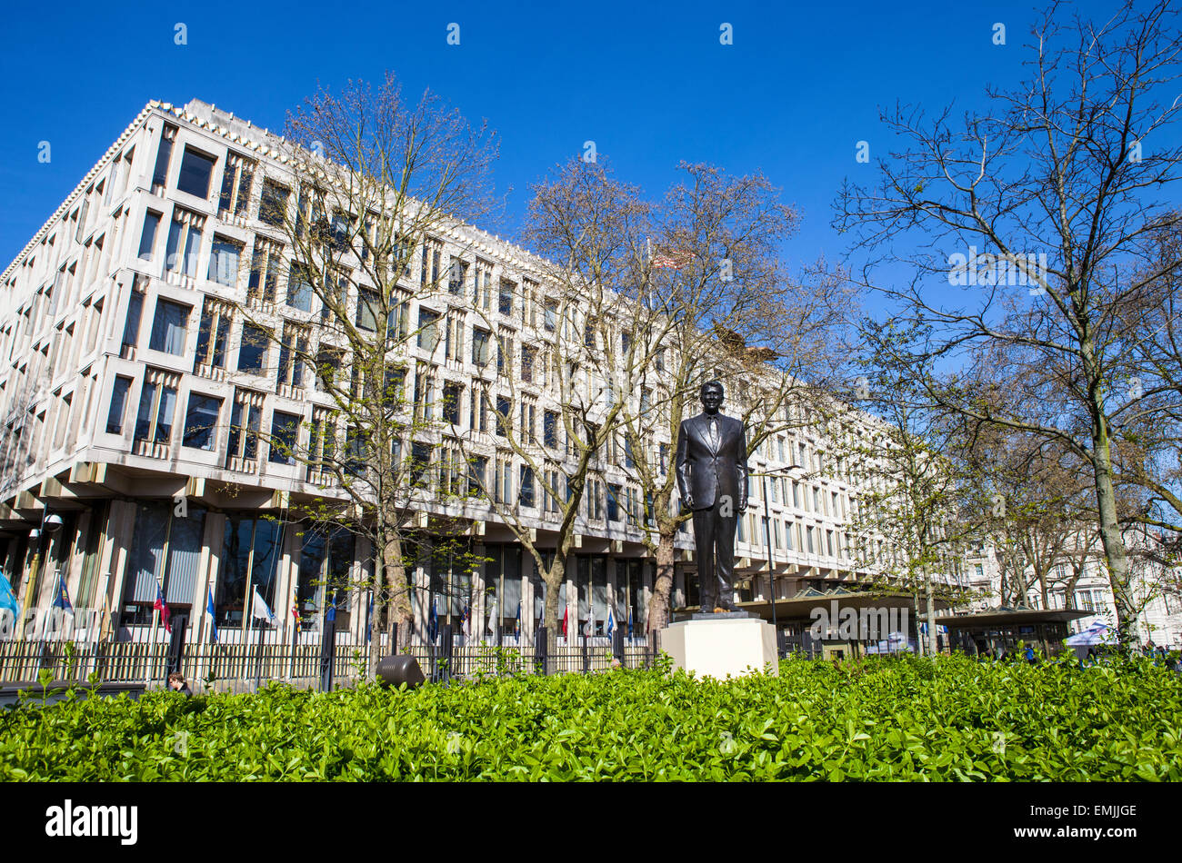 LONDON, UK - APRIL 14TH 2015: A statue of ex US President Ronald Reagan outside the US Embassy in Grosvenor Square Stock Photo