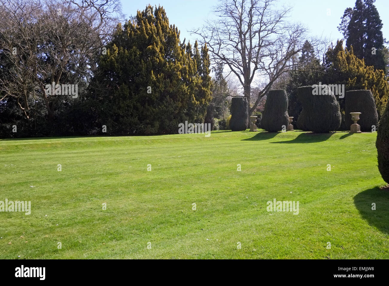 Lawn and Gardens at Castle Ashby House in Northamptonshire UK - Stock Image