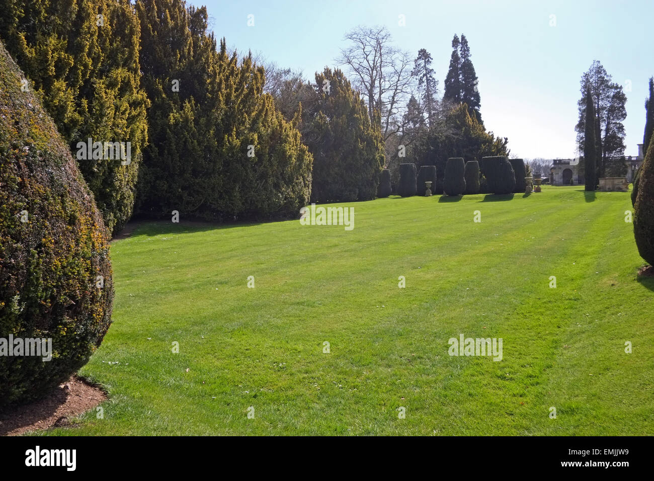 Front Lawn at Castle Ashby House in Northamptonshire UK - Stock Image
