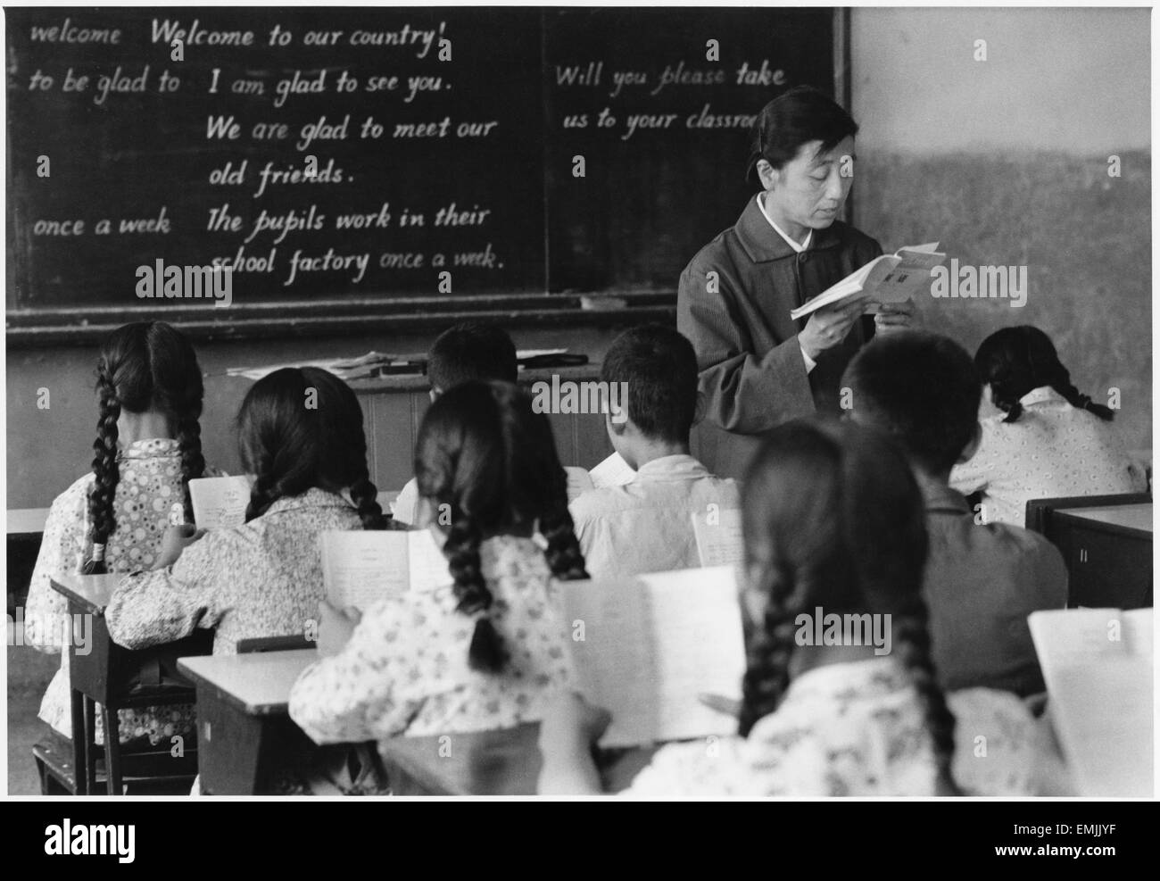 'Teacher in English Class in Peking Middle School #26', China, Film Still from the Documentary Film 'Report - Stock Image