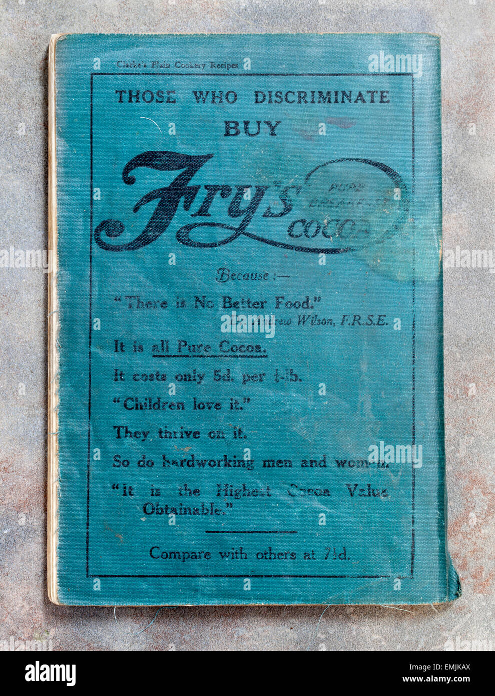 Vintage Advert for Fry's Pure Breakfast Cocoa on back of Clarke's Plain Cookery Recipes - Stock Image