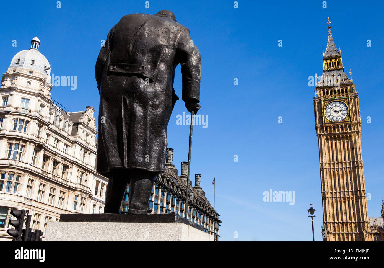 A statue of arguably Britain's most iconic Prime Minister Sir Winston Churchill, located on Parliament Square in - Stock Image