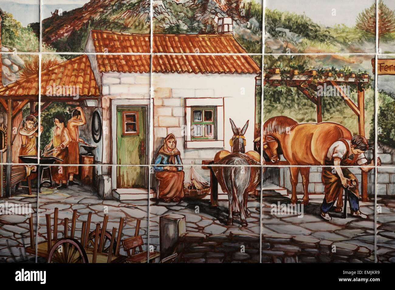 Painted Portuguese tiles, Azulejos, blacksmith of Sintra - Stock Image