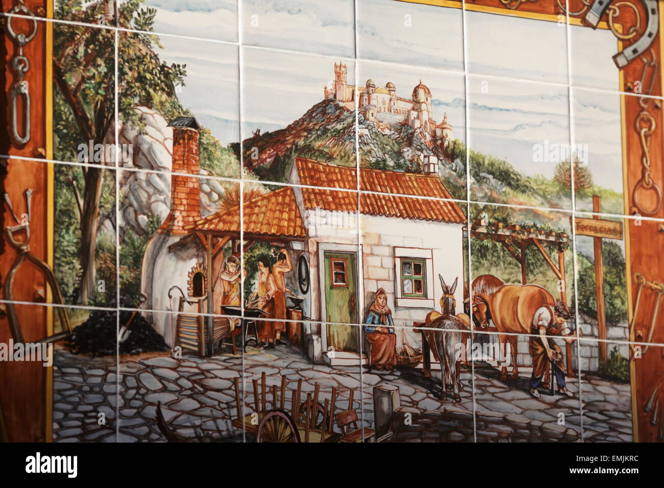 Painted tiles, Azulejos, blacksmith and Castle, Sintra, Portugal - Stock Image