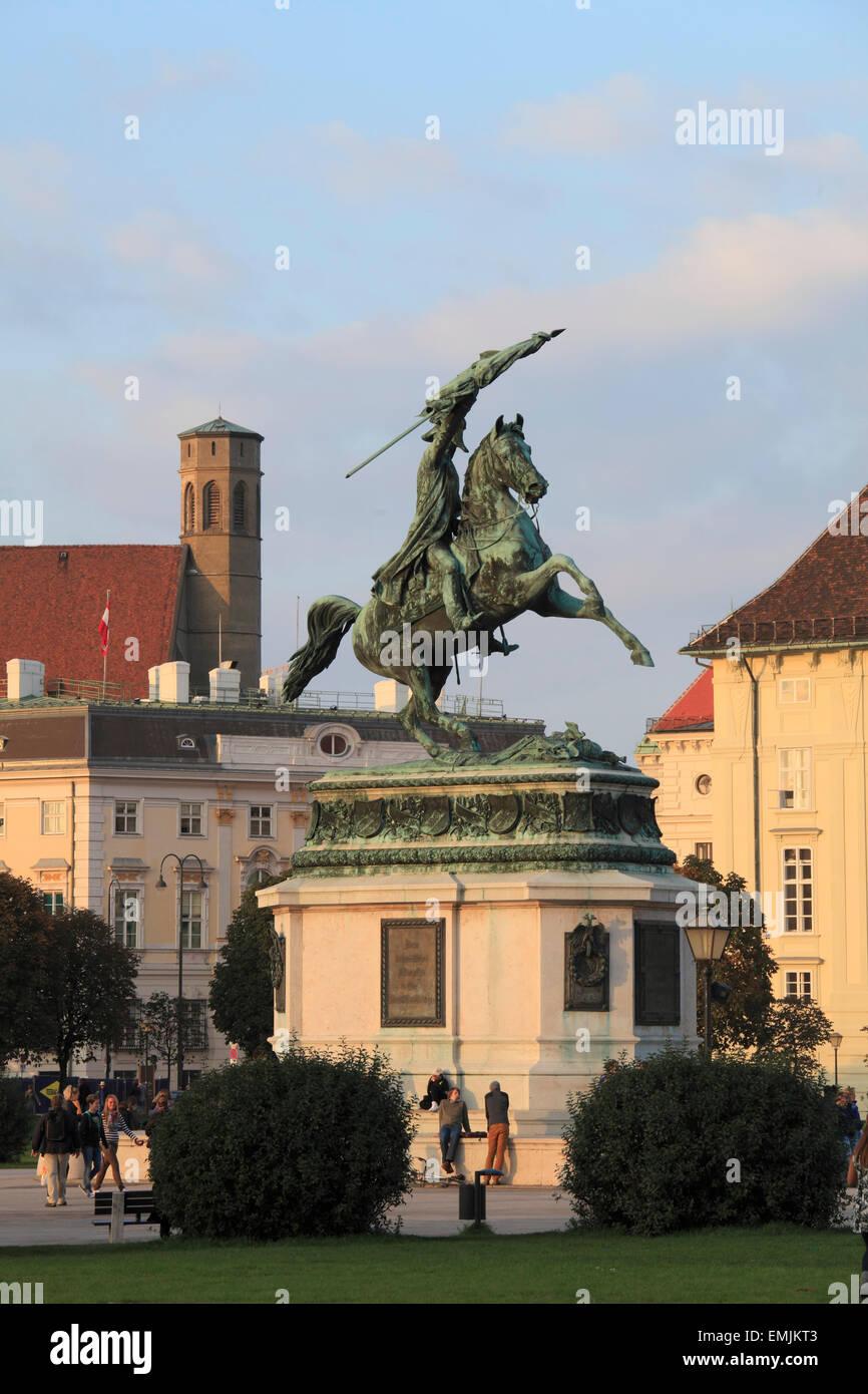 Austria, Vienna, Heldenplatz, Archduke Charles, Erzherzog Karl, statue, - Stock Image