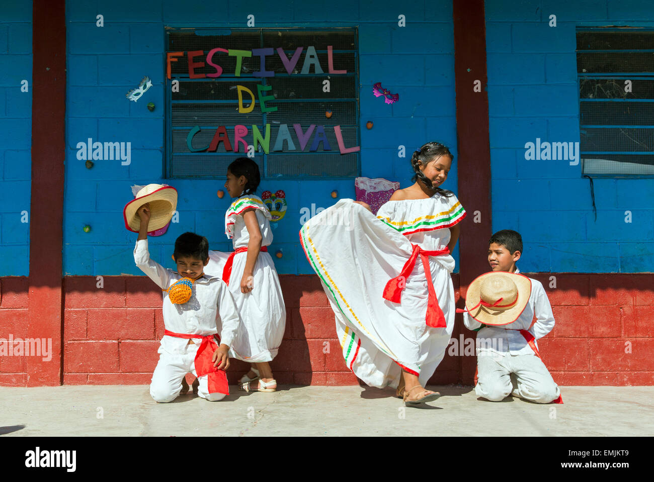 Guatemala,Jalapa, children dressed in costume for Carnaval or Mardi Gras - Stock Image
