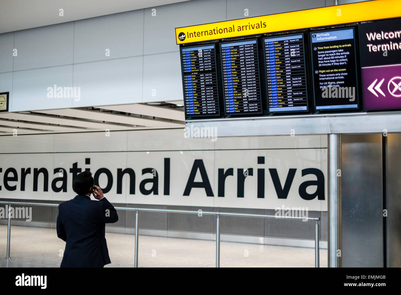 Arrivals Hall, terminal 5, Heathrow airport, London, United Kingdom - Stock Image