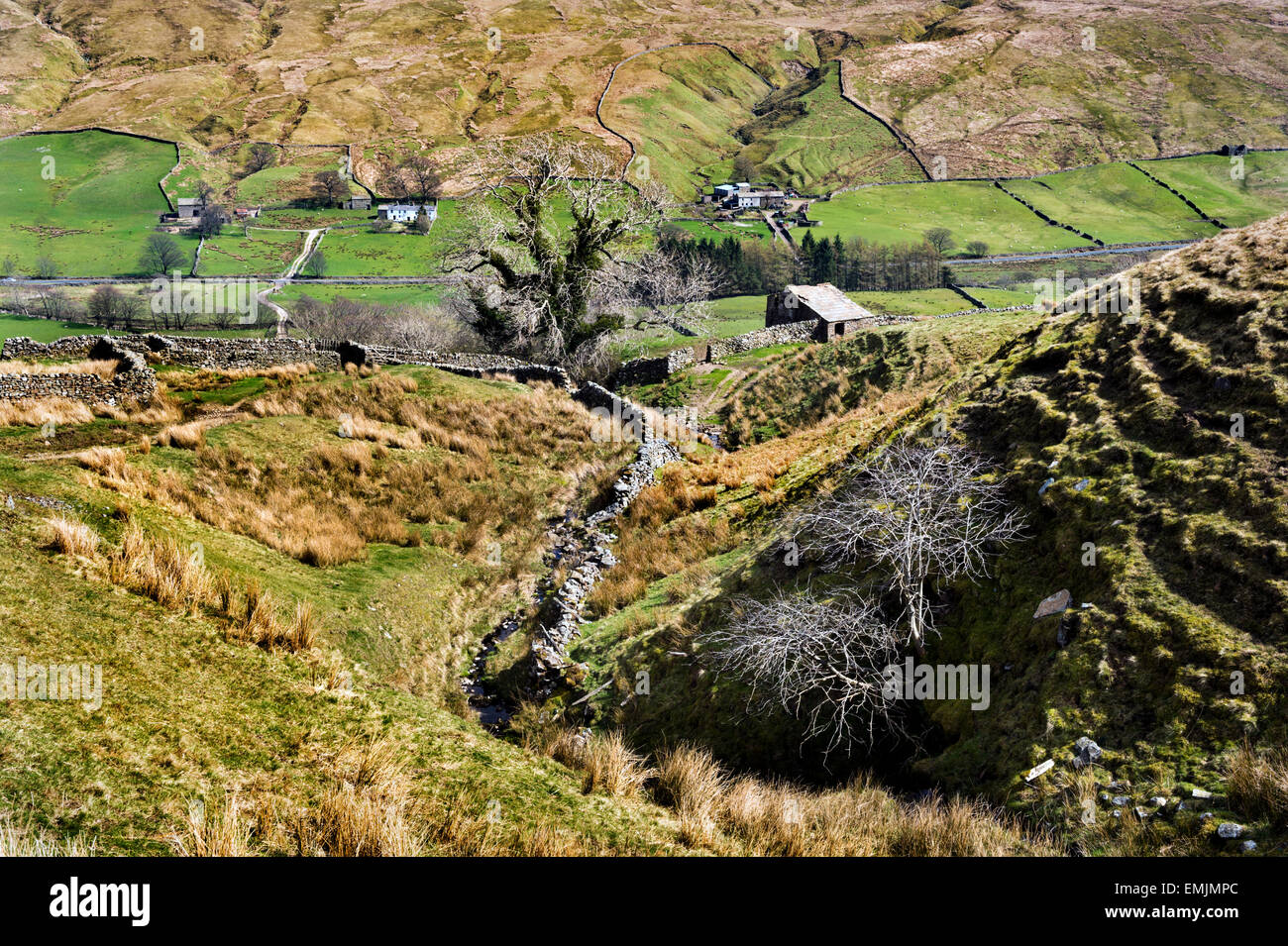 Looking down The Pennine Bridleway to Hazelgill in the Mallerstang area of the Eden Valley, Cumbria UK. - Stock Image