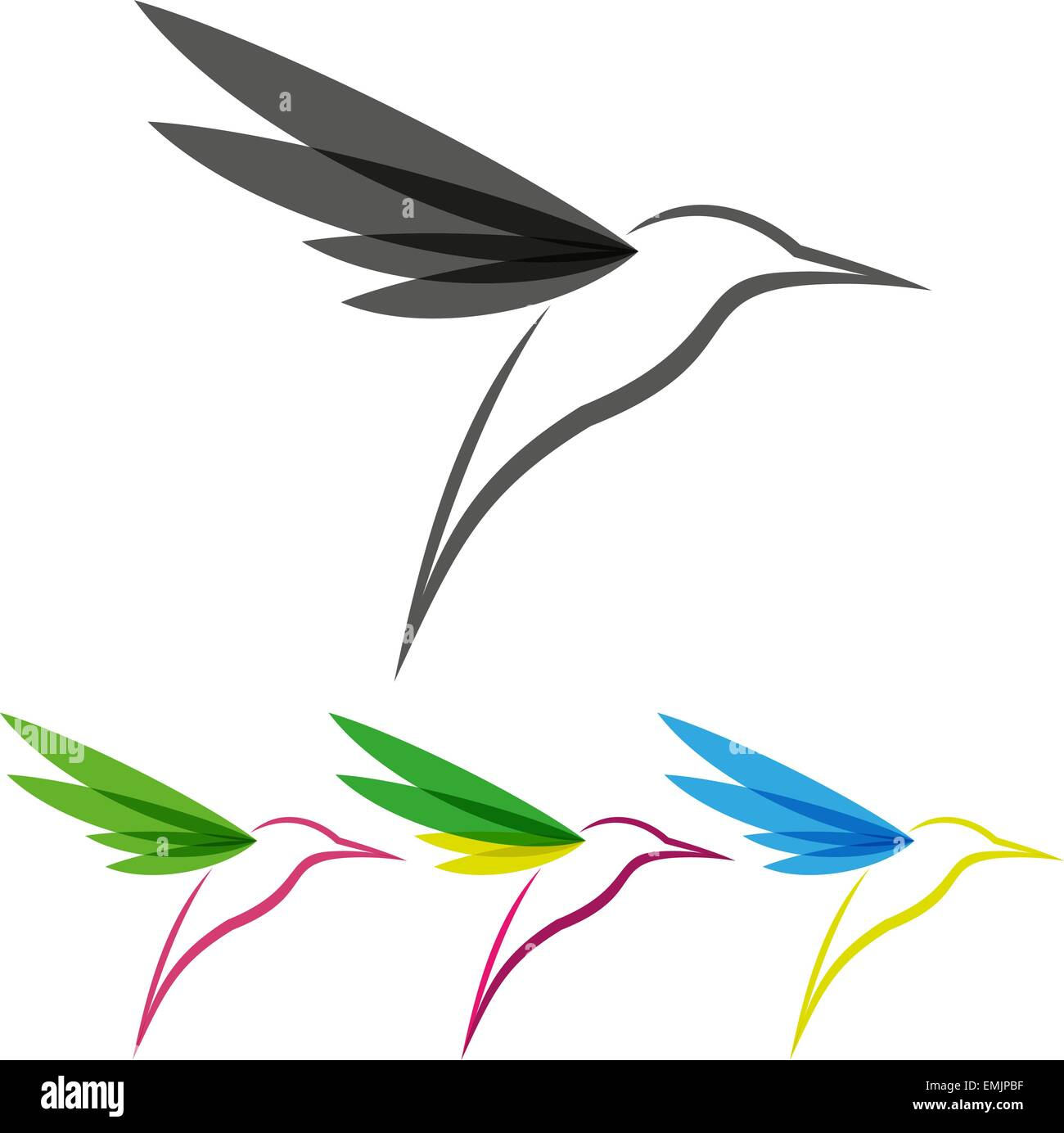 vector colored stylized tropical hummingbirds template for logo