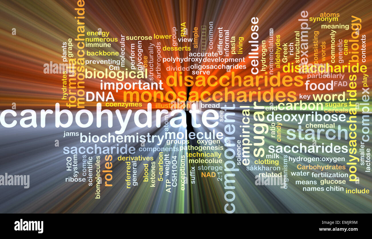 Background text pattern concept wordcloud illustration of carbohydrate glowing light - Stock Image