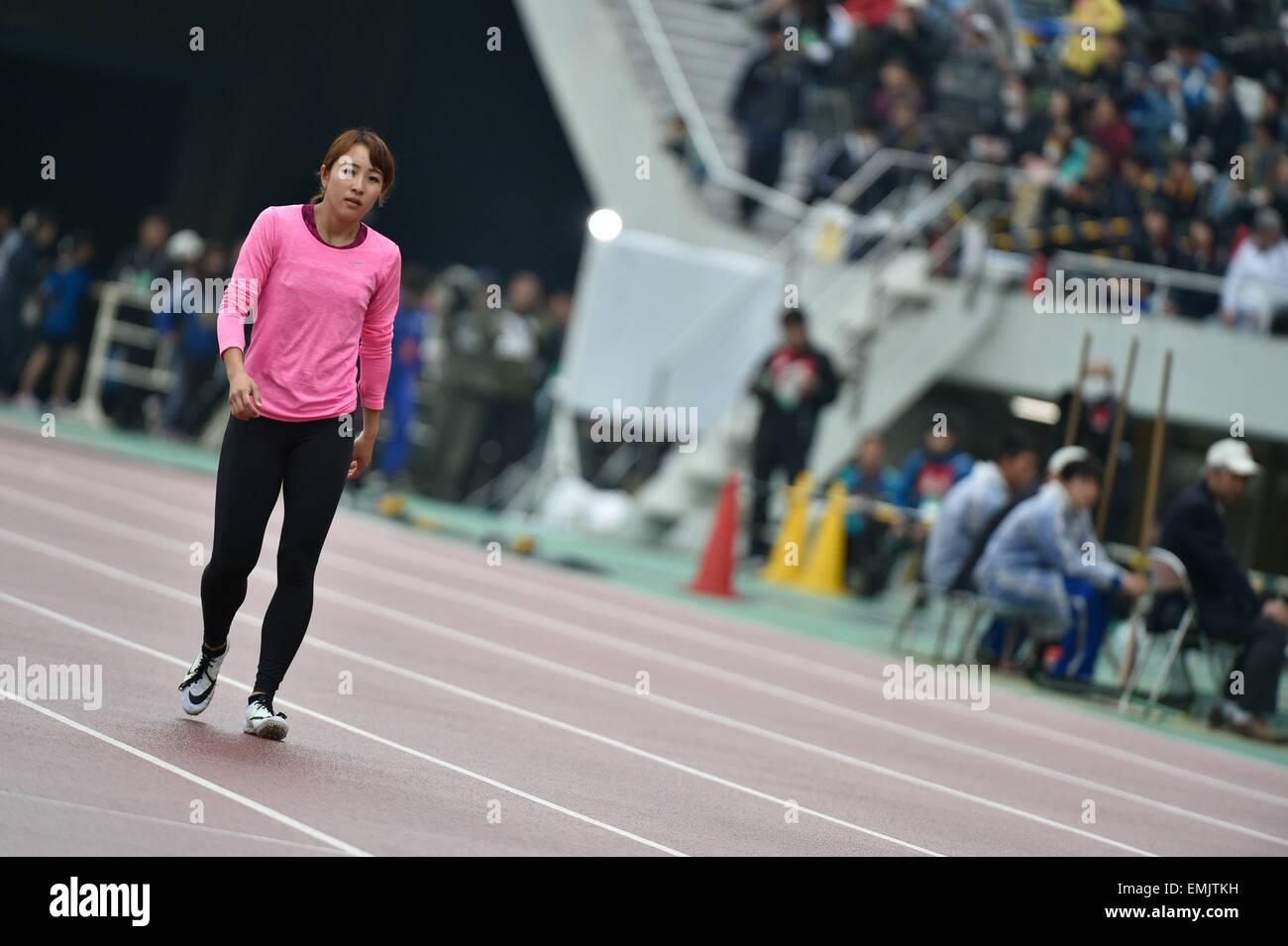 Hiroshima, Japan. 19th Apr, 2015. Anna Fujimori Athletics : The 49th Mikio Oda Memorial athletic meet JAAF Track - Stock Image